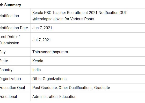 Kerala PSC Teacher Recruitment 2021